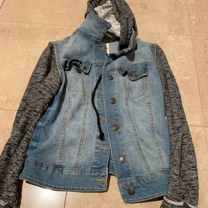 Denim Jacket with sweatshirt like hood and sleeves
